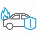 car, fire, flame, insurance icon