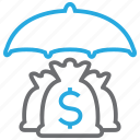 insurance, investment, money, sack, umbrella icon