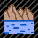 bridge, buildings, current, forest, mountain, raking, river