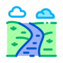 bridge, buildings, forest, long, mountain, river, water