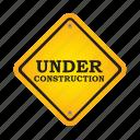 construction, sign, repair, road