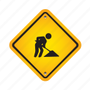 sign, work, worker, yellow icon