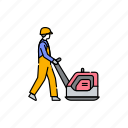 road, worker, vibrating, plate, man