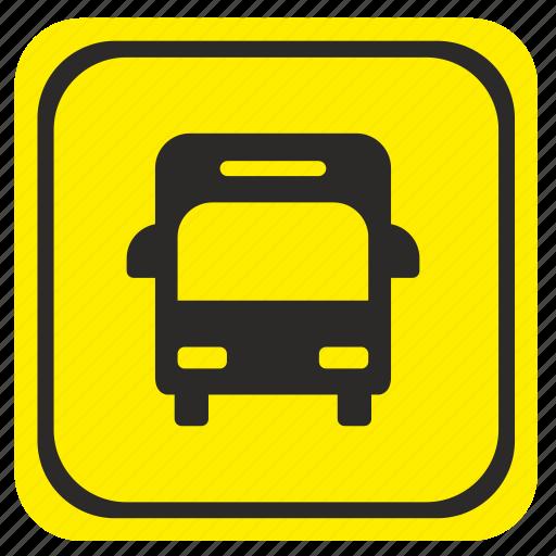 bus, poi, pointer, road, station icon