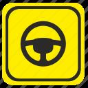 care, driver, poi, road, wheel icon