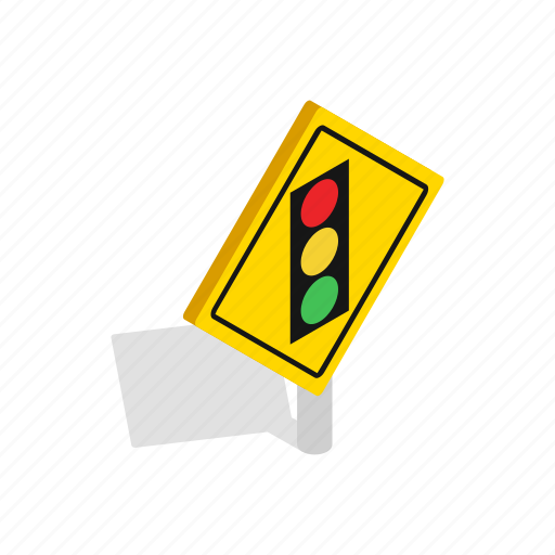 driving, isometric, light, safety, traffic, transportation, yellow icon