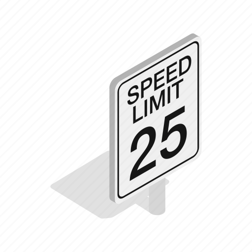 isometric, limit, post, road, speed, street, traffic icon