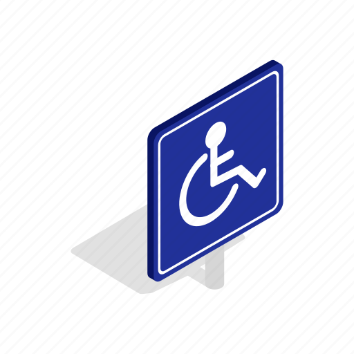 chair, disabled, handicap, isometric, parking, wheel, wheelchair icon