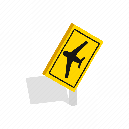 air, aircraft, airplane, beware, isometric, plane, traffic icon