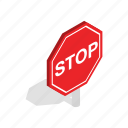 isometric, law, red, regulate, road, stop, traffic icon