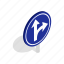 arrow, direction, isometric, right, road, traffic, turn icon