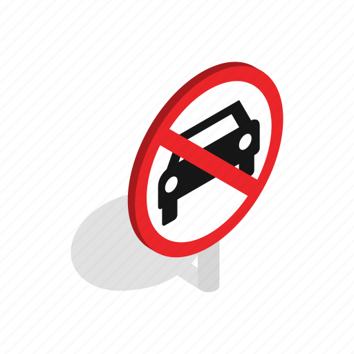 car, isometric, no, not, park, prohibition, traffic icon