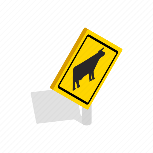 background, cattle, cow, isometric, road, traffic, warning icon