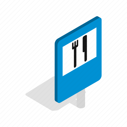 background, food, fork, isometric, restaurant, road, white icon