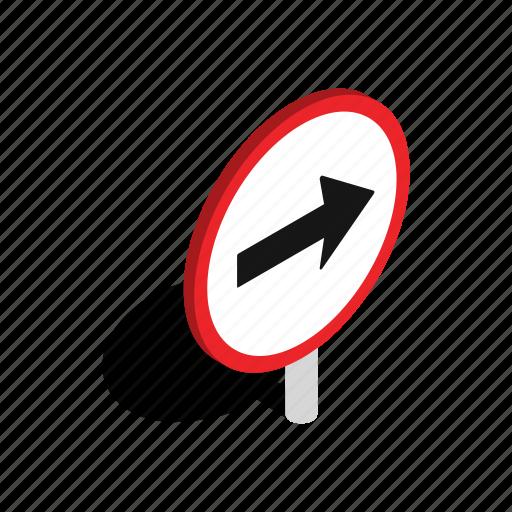 arrow, background, isometric, pointer, right, round, white icon