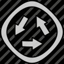arrows, direction, navigation, roundabout