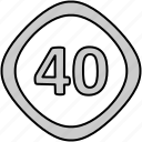 signs, traffic, limit, speed icon