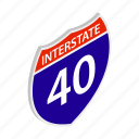 american, expressway, freeway, highway, interstate, isometric, usa icon