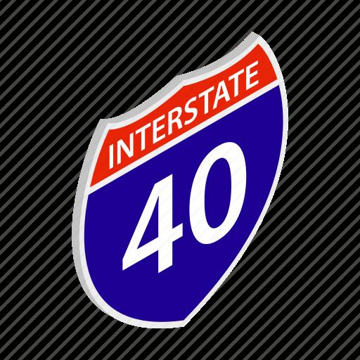 american, expressway, freeway, highway, interstate, isometric, usa icon