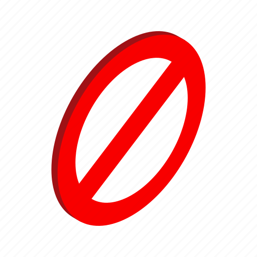 forbidden, isometric, no, red, safety, stop, warning icon