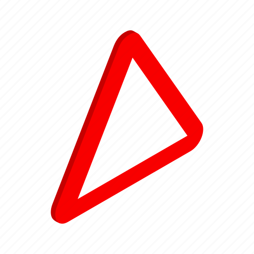 blank, highway, isometric, red, road, traffic, triangle icon