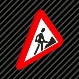 danger, isometric, road, safety, traffic, warning, work icon
