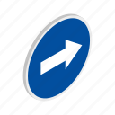 blue, isometric, right, road, traffic, transportation, warning icon