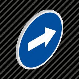 blue, isometric, right, road, traffic, transportation, warning icon