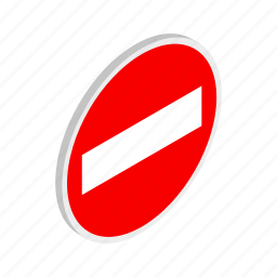 entry, isometric, no, red, road, traffic, warning icon