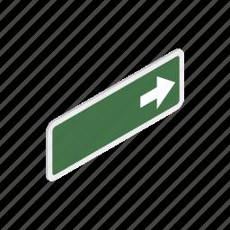 green, isometric, right, road, traffic, transportation, warning icon