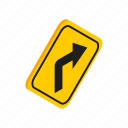 danger, isometric, right, road, traffic, transportation, warning icon