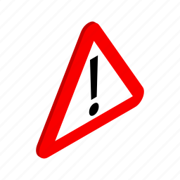 caution, danger, isometric, red, road, traffic, triangle icon