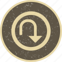 arrow, sign, turn, u turn icon