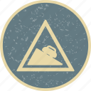 dangerous, descent, road, sign icon