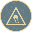 attention, danger, road slippery, slippery icon