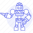 hat, driller, ai, construction, hard, robot, factory icon