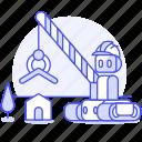 hat, crane, ai, construction, factory, 2, robot, house, builder, hard