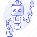 ai, bucket, construction, factory, knife, paint, painter, putty, robot