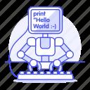 hello, learning, coding, robot, machine, ai, programming, working, world, developer