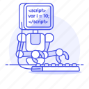ai, coding, developer, learning, machine, programming, robot, script, working icon