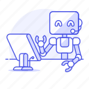 ai, assistant, business, cashier, operator, robot, support, virtual icon