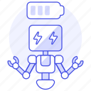 repairs, battery, ai, robot, bugs, charging icon