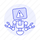 repairs, attention, ai, alert, robot, bugs, warning, report icon