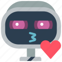avatars, bot, droid, kiss, robot icon