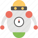 artificial intelligence, bionic man, industrial robot, robot, robot with speedometer icon