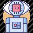 3d, eye, microchip, robot, robotic icon