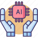 ai, artificial intelligence, hands, microchip, open hands, robot hands icon