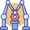 assembly, assembly line, machine, machinery, manufacturing, production, robotic engineering icon