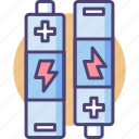 batteries, battery, charge, charging, energy, lithium, power icon