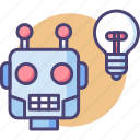learning, light bulb, machine, machine learning, robot icon